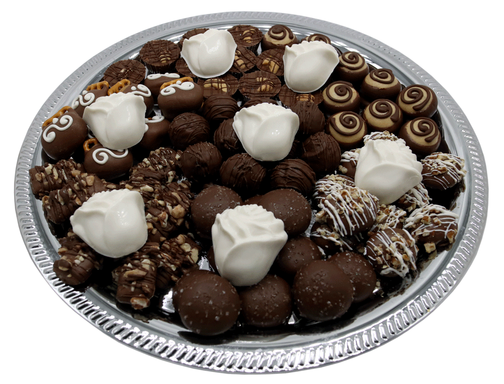 Customizable gourmet Chocolate Bereavement Trays available at Homemade Chocolates by Michelle - White Roses