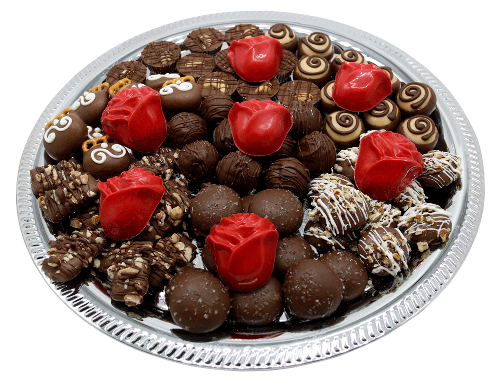 Customizable gourmet Chocolate Bereavement Trays available at Homemade Chocolates by Michelle - Red Roses