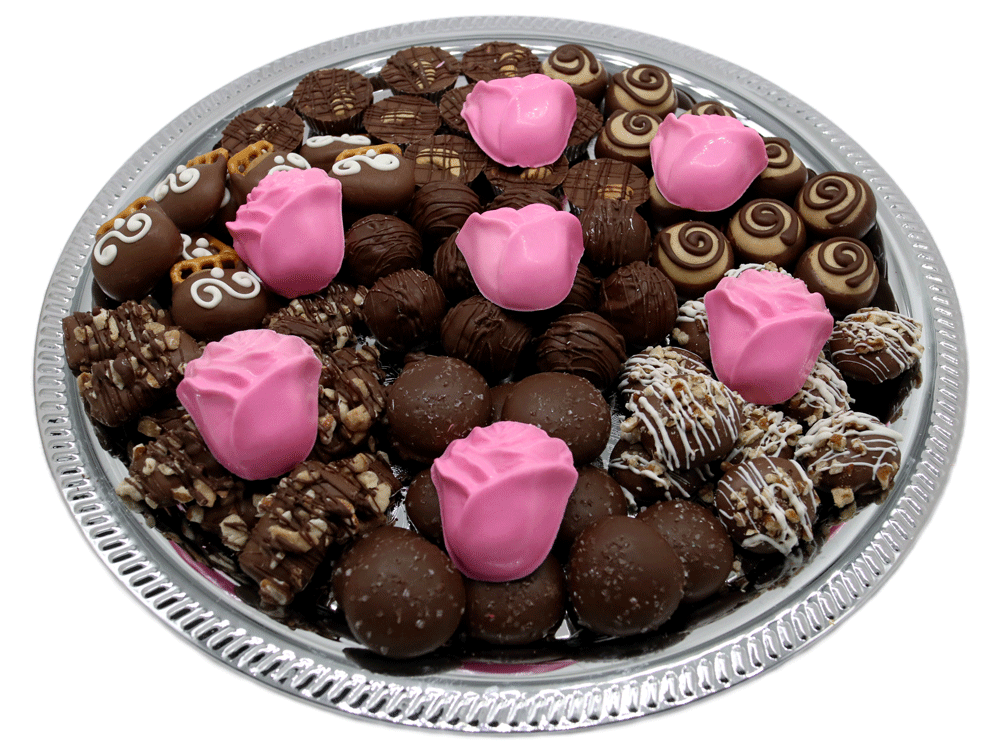 Customizable gourmet Chocolate Bereavement Trays available at Homemade Chocolates by Michelle - Pink Roses