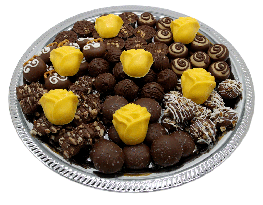 Customizable gourmet Chocolate Bereavement Trays available at Homemade Chocolates by Michelle - Yellow Roses