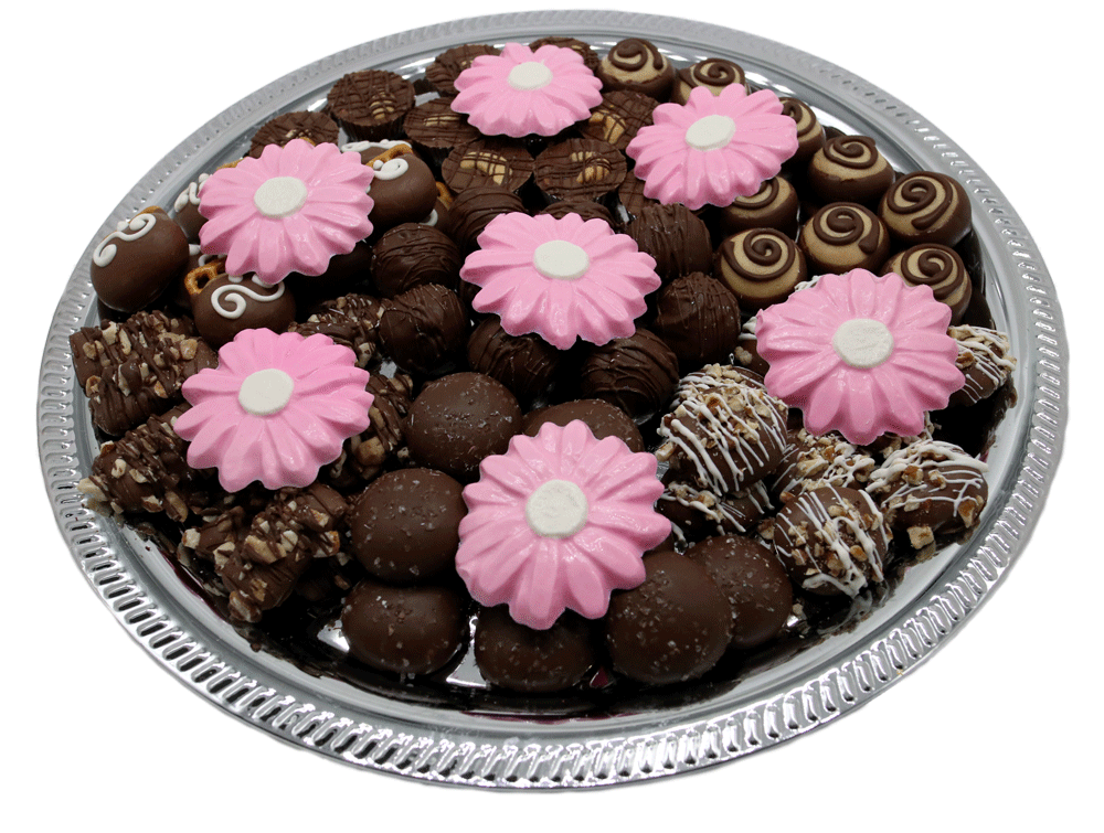 Customizable gourmet Chocolate Bereavement Trays available at Homemade Chocolates by Michelle - Pink Daisy